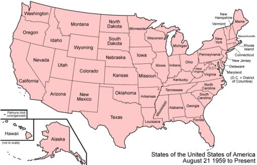 Estados Unidos de América: mapa político (50 estados)
